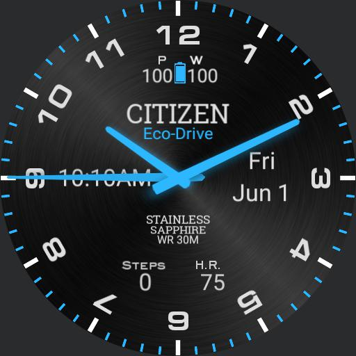 Citizen Blue Glow Digital Time Metal Background