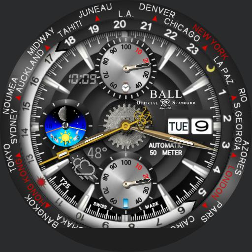 Analog World Time Rotate with Digital Overlay