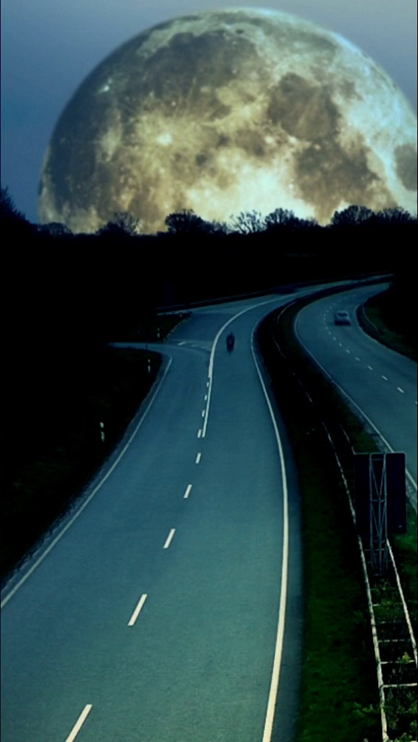 moon over road