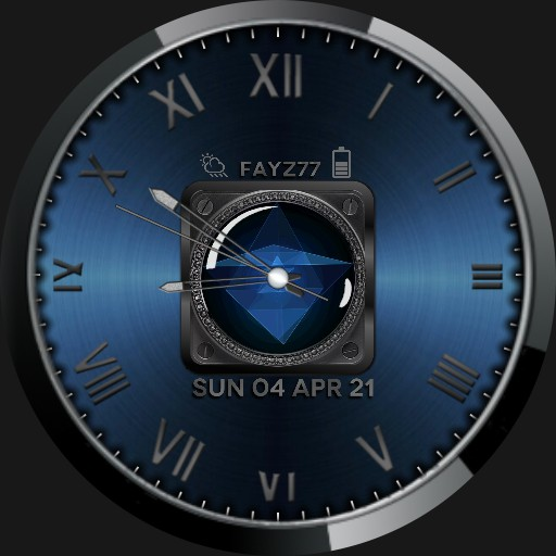 Chrome and blue watch face.
