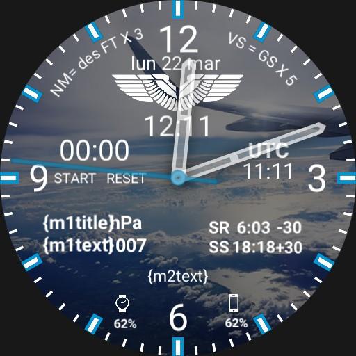 Aviation Pilot Watchface WING VIEW