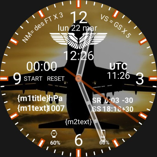 Aviation Pilot Watchface SUNSET TAKEOFF