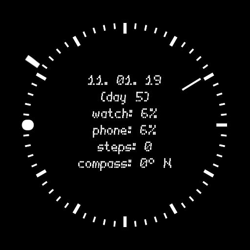 Analog modern watch face with digital useful informations.