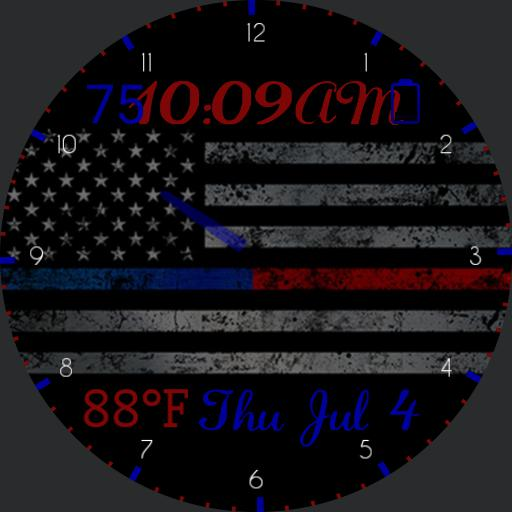 Thin Blue Red Line W/ Heart Rate
