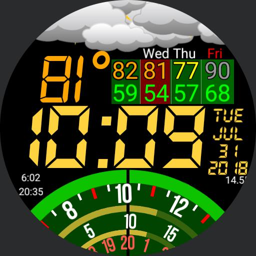 Dial Time Weather 12 hour clock version