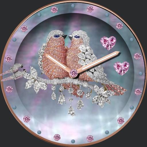 pretty pink love birds