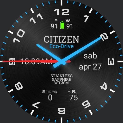 Citizen Blue Glow Digital Time Metal Background coloured
