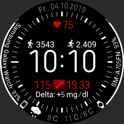 mmol/l V.2.0/EN Galaxy Watch Face Clearly arranged with xDrip integration