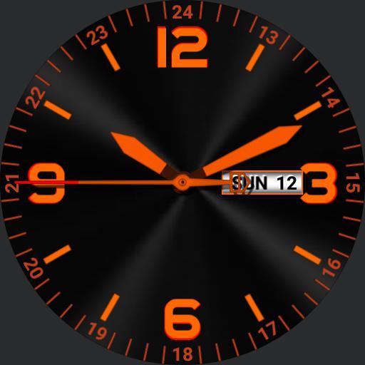 Orange on black. high visibility