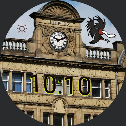 Manchester Victoria Station clock rendition. Added seconds hand and changed fingers. redrawn centre piece. added date and weather as subtly as possible. unlike the actual clock, this one will keep time.  Copy