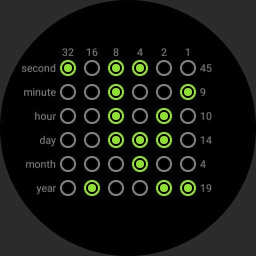 Binary watch neon