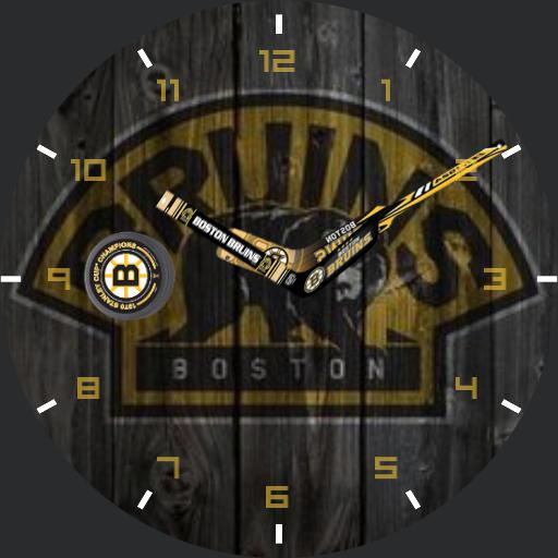 bruins wooden sign with new puck