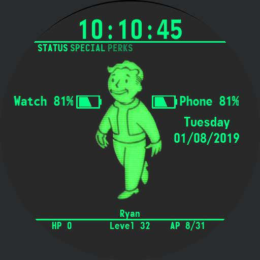 Fallout 4 Pipboy Watch Face Round 12h