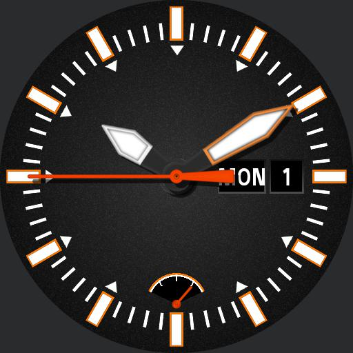 black and orange.  day and date.