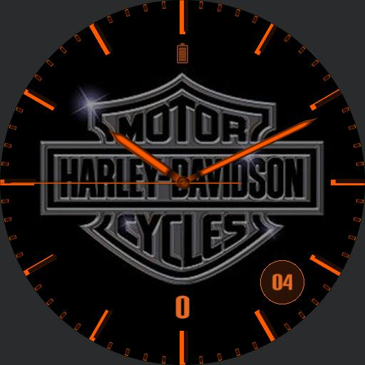 HD logo with orange hands and dial, steps and battery