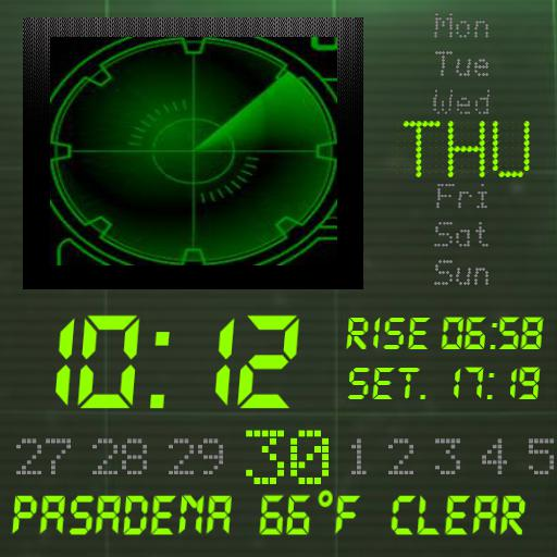 Green LCD radar watch