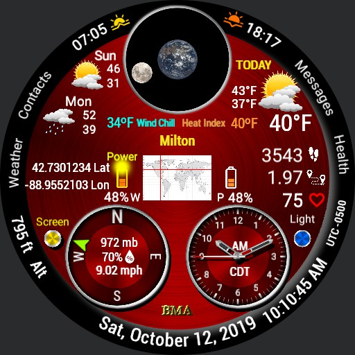 Earth Weather Multiscreen Watch - 12 Hr  -- v 1.9