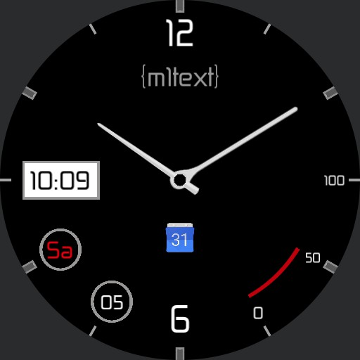 m1 text 3 lines, black clear, battery, time and date