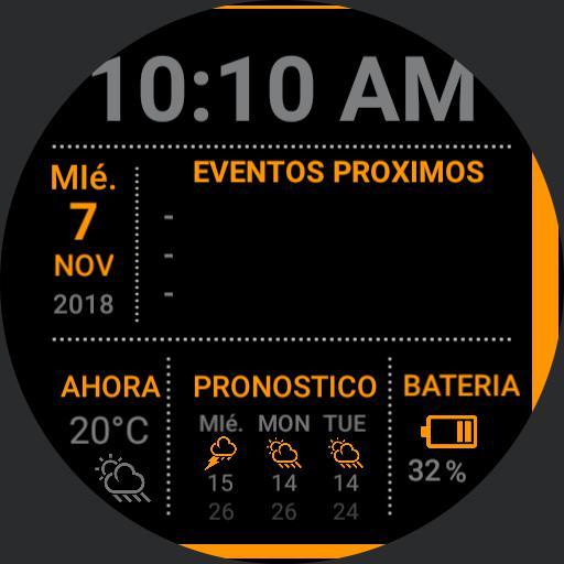 Reloj con eventos