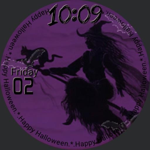 Happy Halloween Witch, Cat, Bats #2