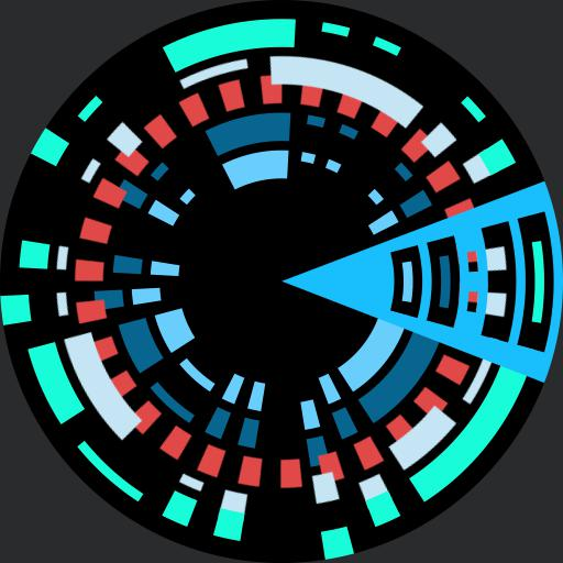 Rotating Glyphs coloured
