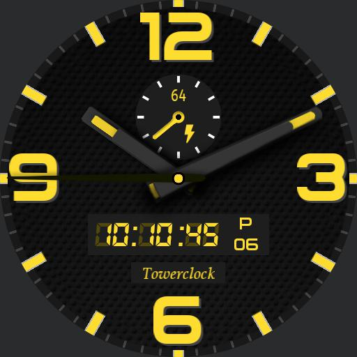 Towerclock yellow - black