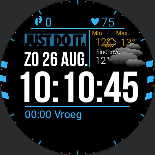 Agenda, Heartrate, Steps, big date and time, weather, reminder. By Dave Engelen.