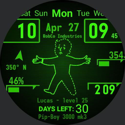 Pip-Boy 3000 Dual clock step count day of week calendar countdown v.3