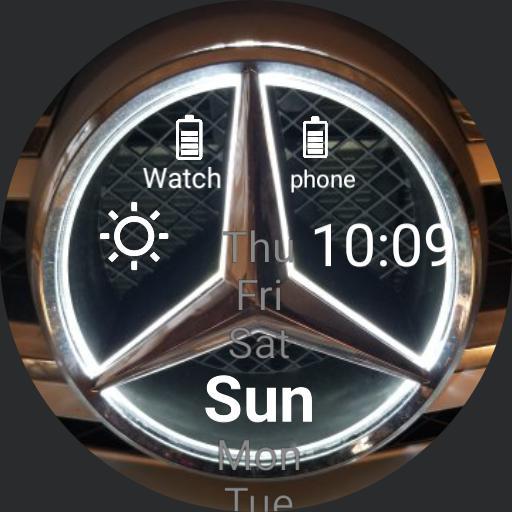Benz emblem light close up