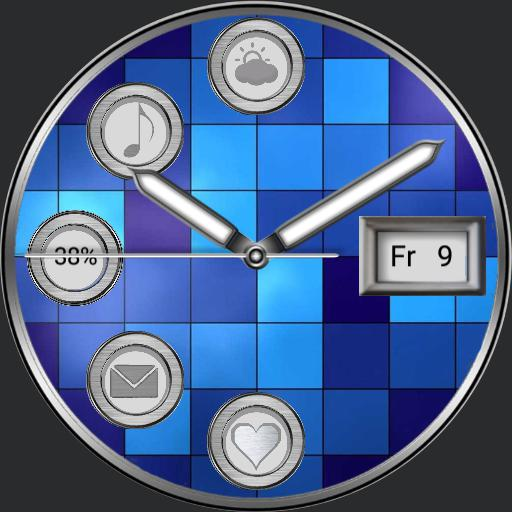 Square patterns triple-screen watch with 5 app launcher for Samsung Galaxy Watch