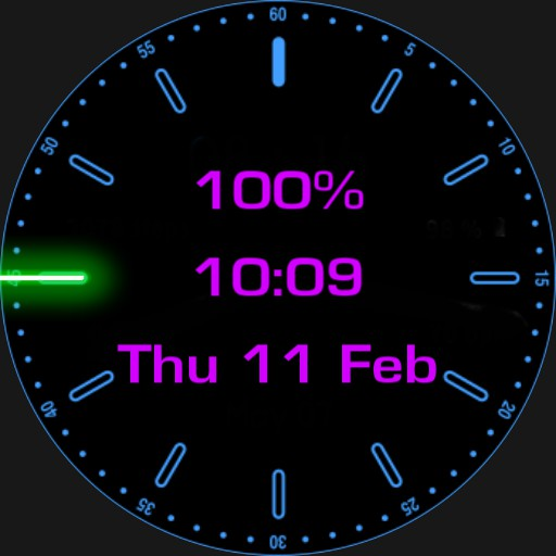 Digital Watch with glowing second hand