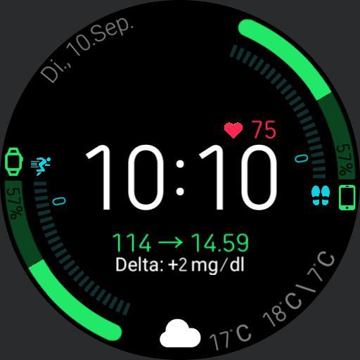 """V.1.1/DE Blood Glucose Health Dashboard mit xDrip Integration ohne """"Trainieren"""" Button"""