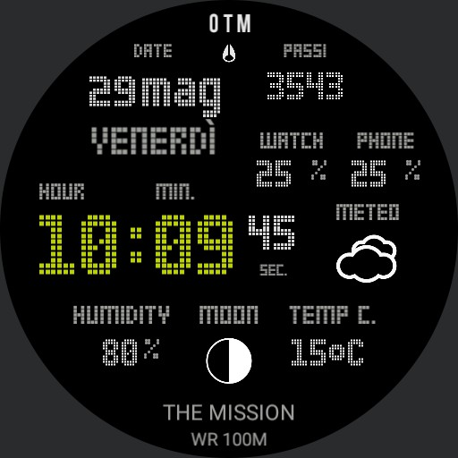 Nixon calendar steps heart rate weather and moon custom Black Snow Copy