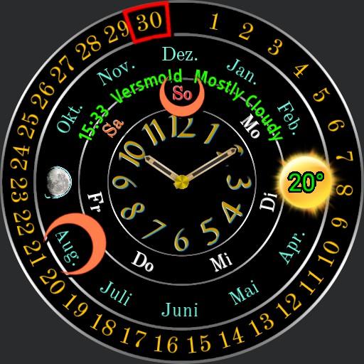 0064 b analog calendar clock Black