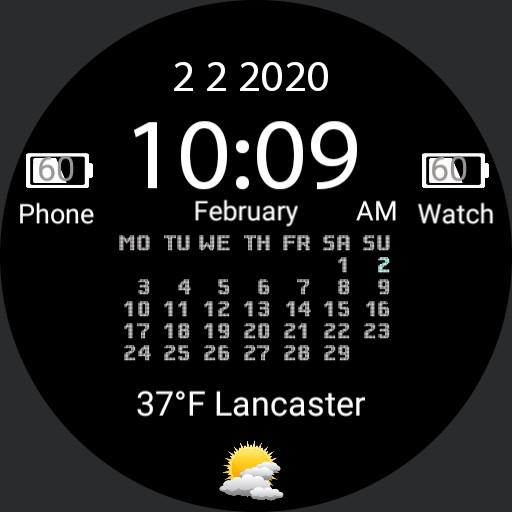 Full calendar watchface