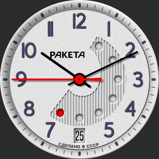 Raketa 2628 Red Dot Day/Date Calendar C.1984
