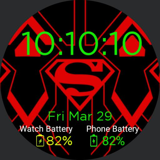 Red/Black Superman Watch Face Copy