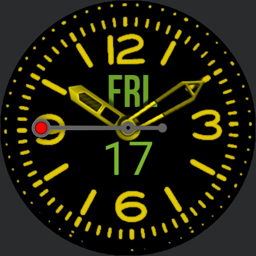 Big Bold Yellow Diver Date  Dial