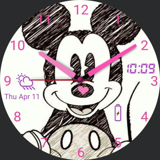 Mickey Mouse Pink w/ Weather and Battery