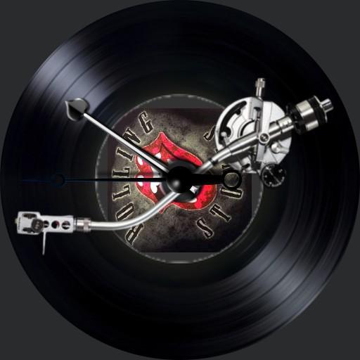 Plattenspieler Rolling Stones mit Cover 3S. Animation