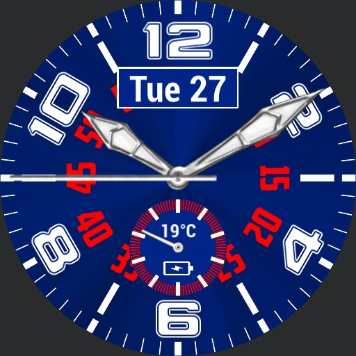 Blue and red weather, battery and date