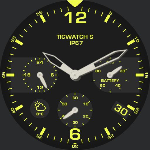 analogue ticwatch s yellow