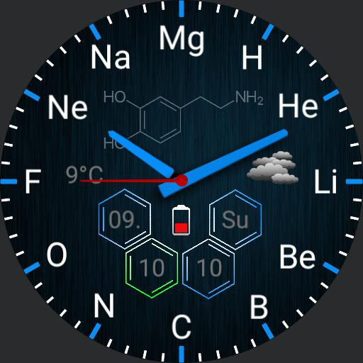 Chemical elements blue with stopwatch