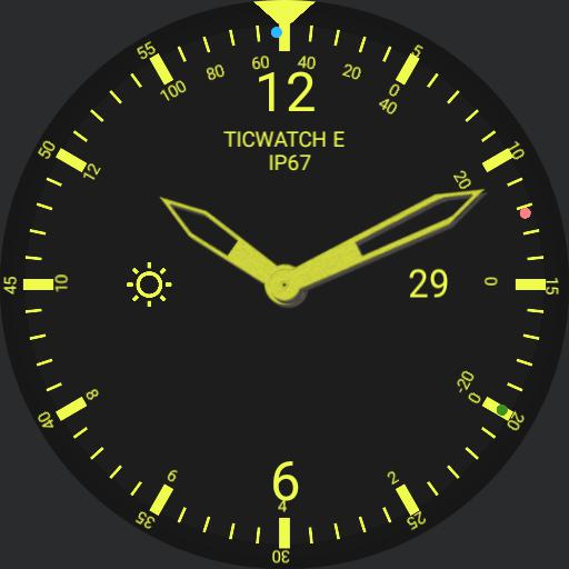 analogue ticwatch yellow