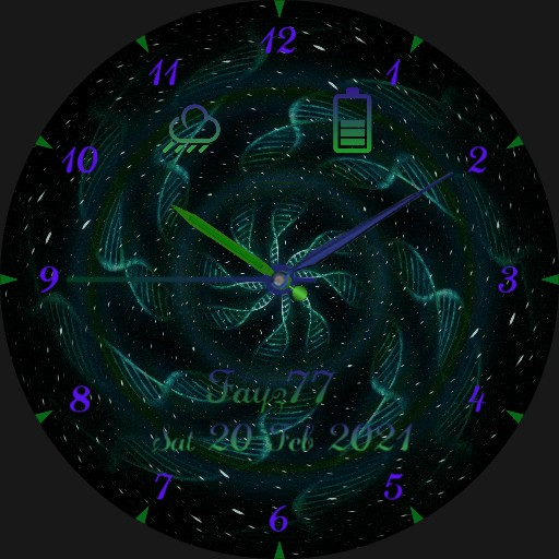 Purple and green whirl