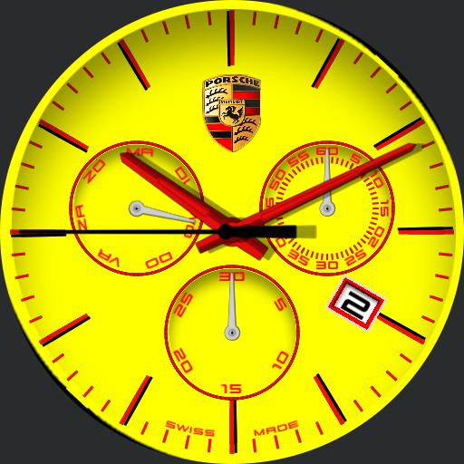 Porsche yellow clock watch