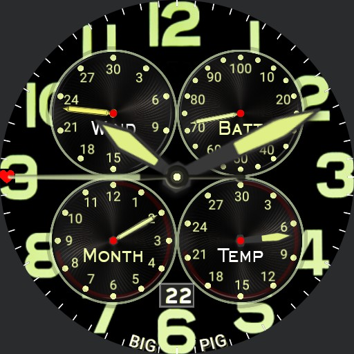 BIG PIG - Simple Military Chrono WWII Yellow Four Dials