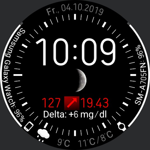 mmol/l V.2.2/EN Galaxy Watch Face Clearly arranged with xDrip integration