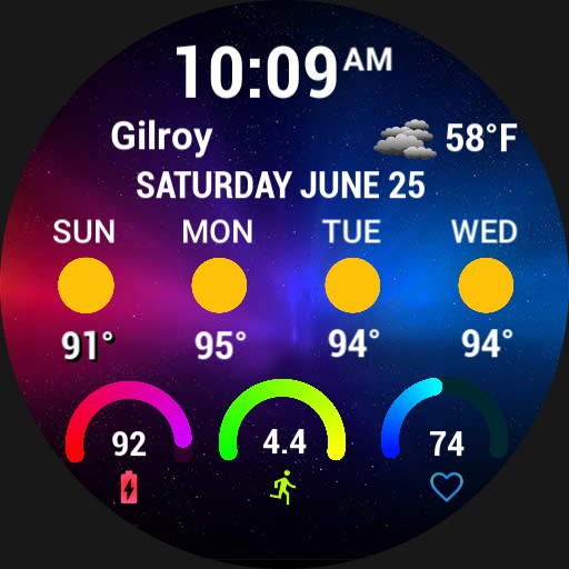 2021 Weather forecast with location, steps, battery and heart rate