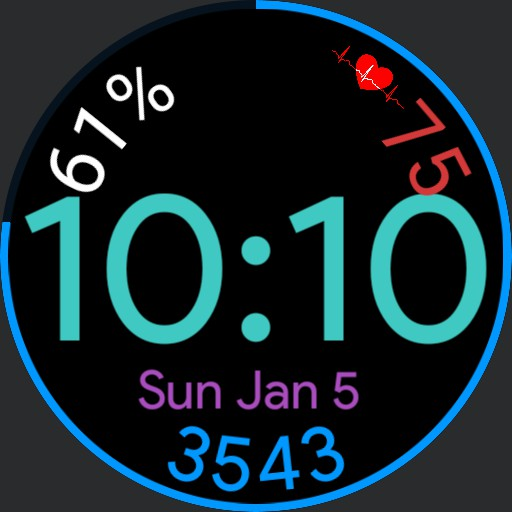 simple watch, arc battery indicator